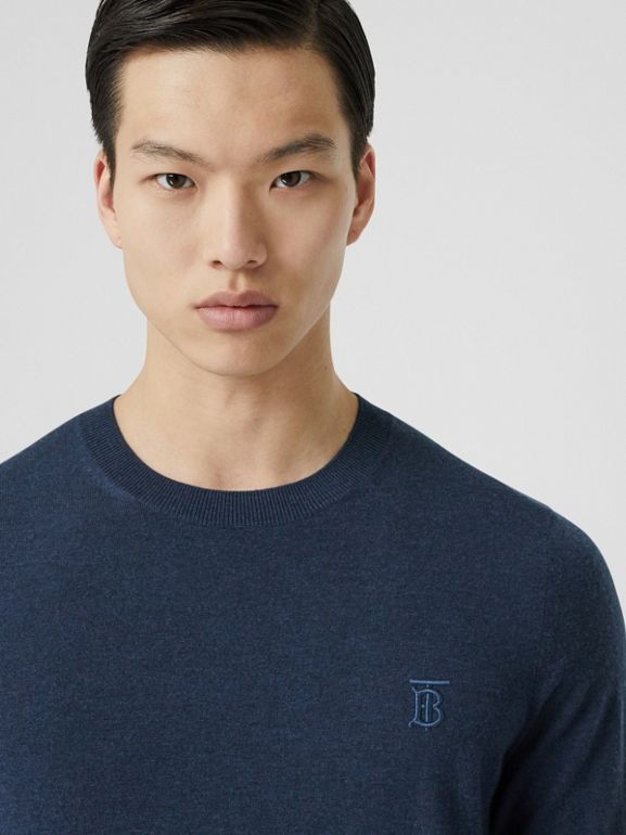 Monogram Motif Cashmere Sweater in Uniform Blue Melange - Men | Burberry - cell image 1
