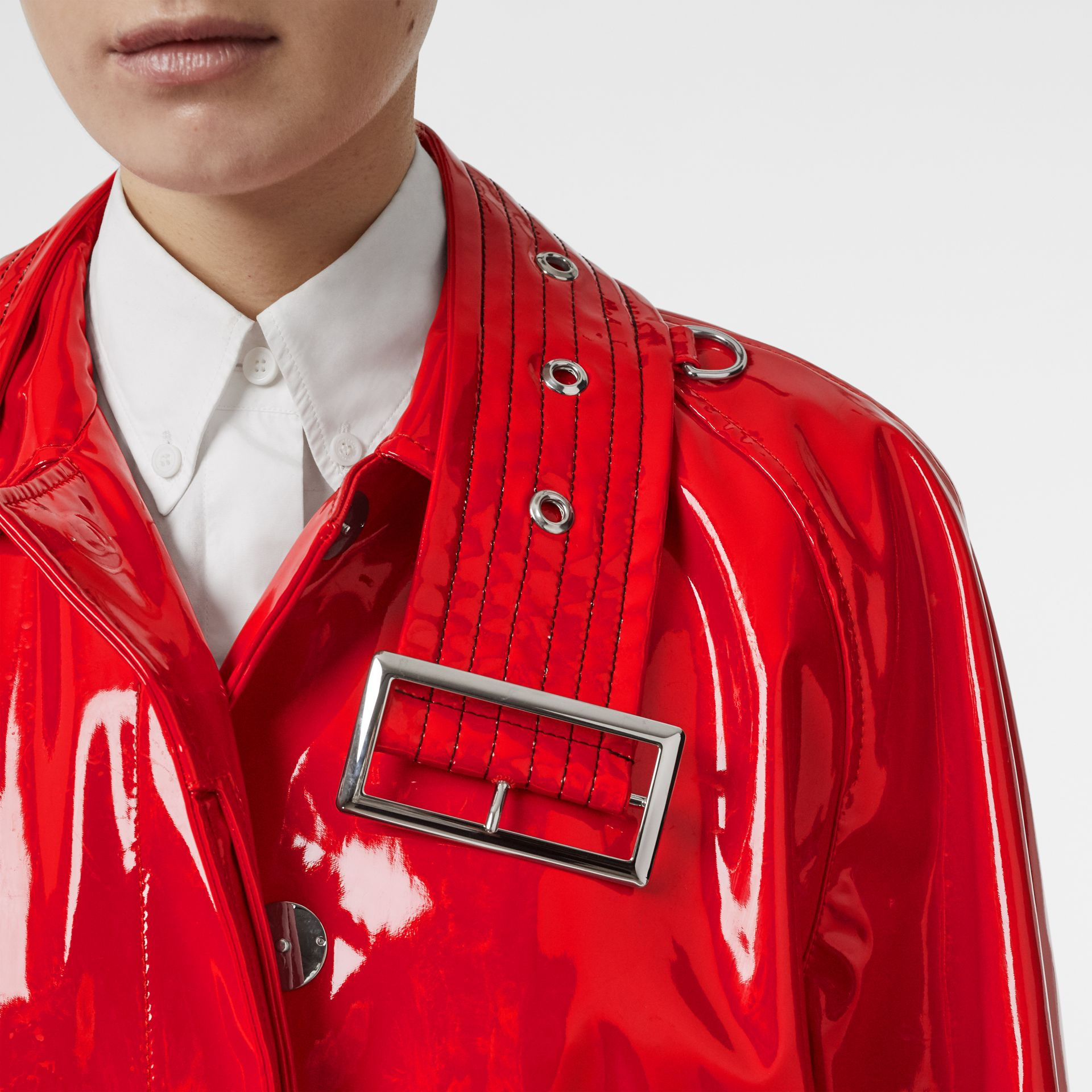 Belt Detail Laminated Car Coat in Bright Red - Women | Burberry - gallery image 7