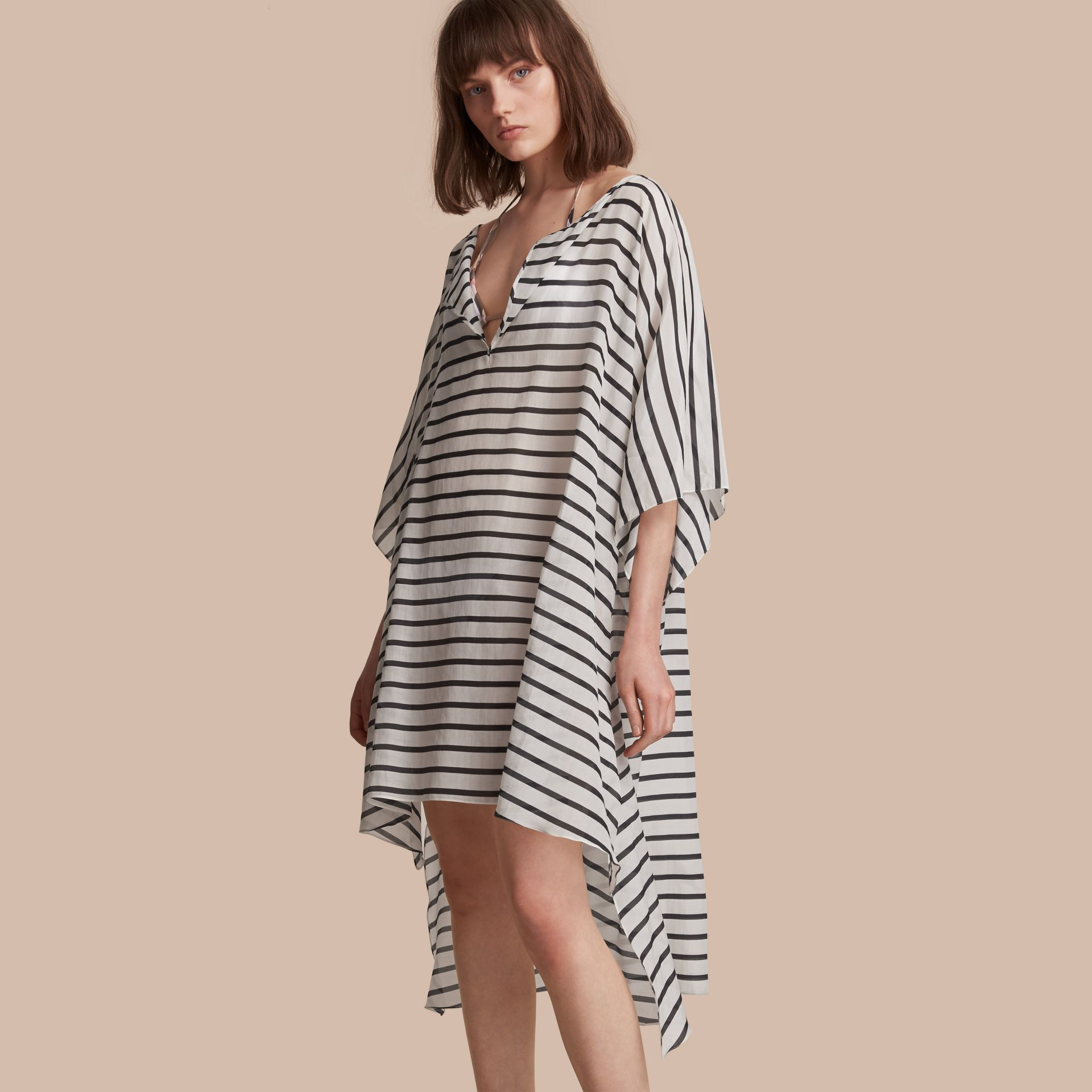 Striped Cotton Silk Kaftan - gallery image 1