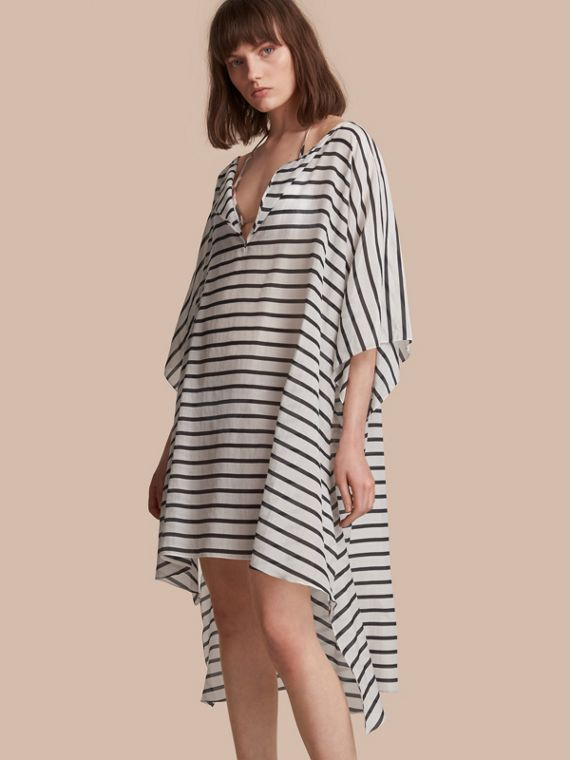 Striped Cotton Silk Kaftan in Navy