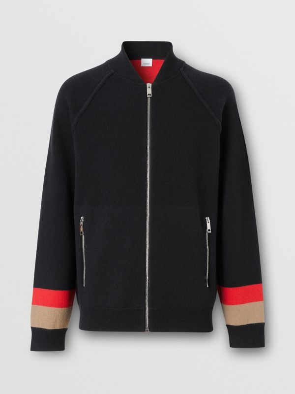 Double-faced Wool Cashmere Blend Bomber Jacket in Black | Burberry - cell image 3