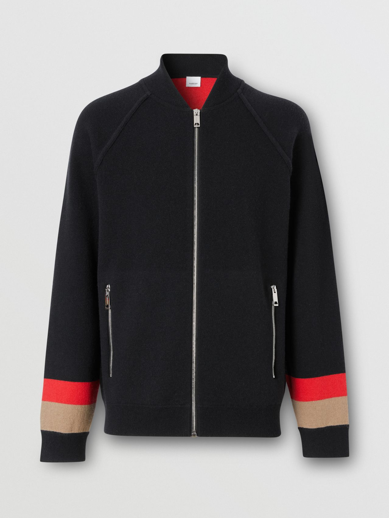 Double-faced Wool Cashmere Blend Bomber Jacket in Black