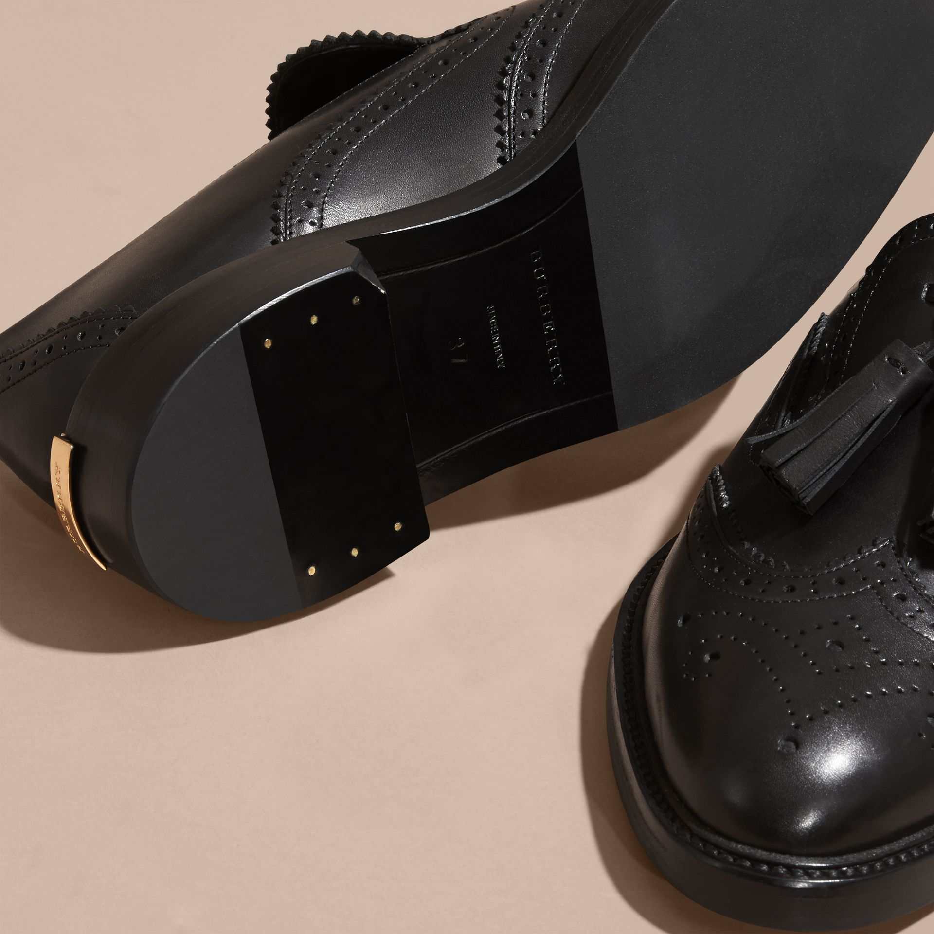 Black Leather Tassel Loafers Black - gallery image 5