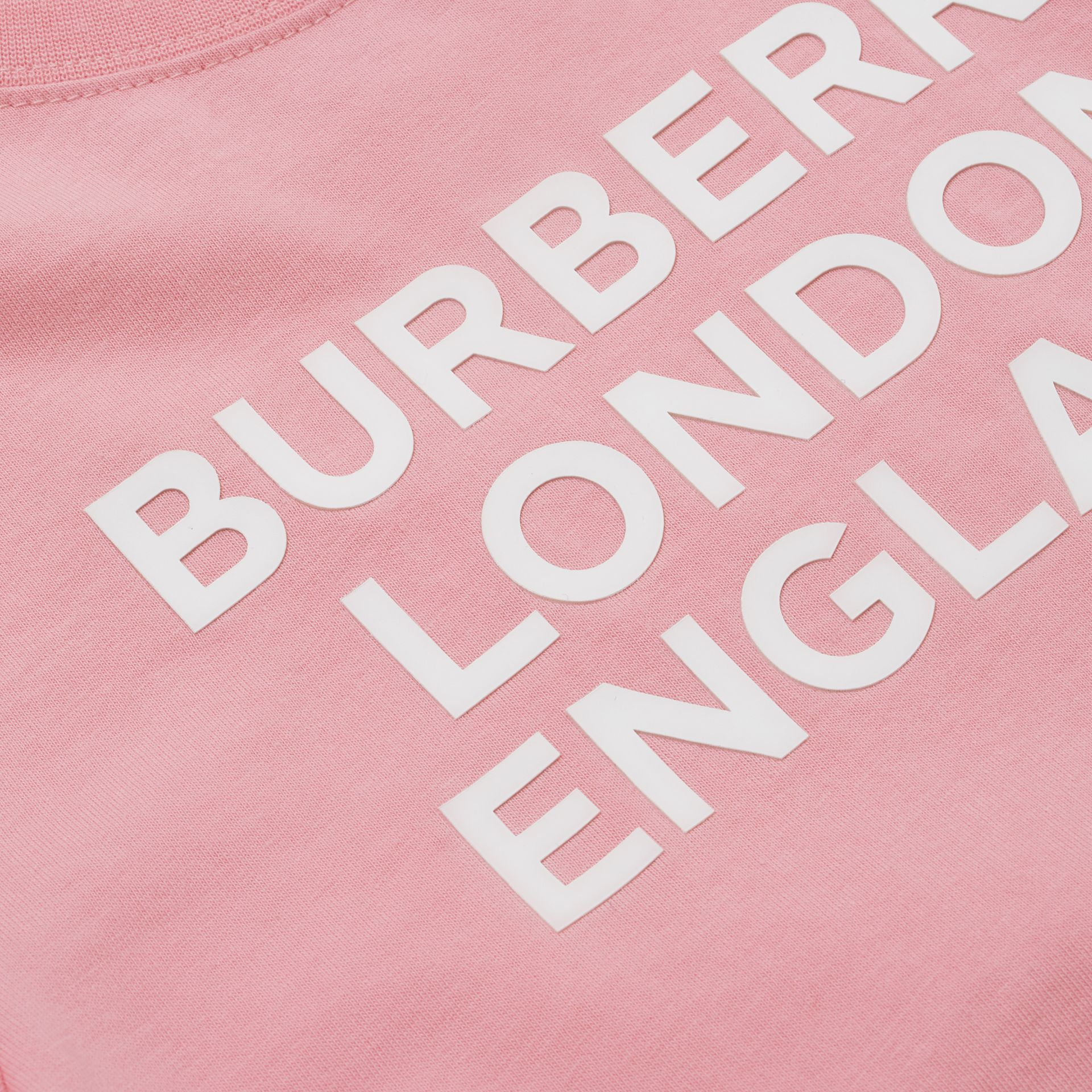Logo Print Cotton T-shirt in Candy Pink | Burberry United Kingdom - gallery image 1