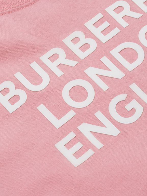 Logo Print Cotton T-shirt in Candy Pink | Burberry United Kingdom - cell image 1