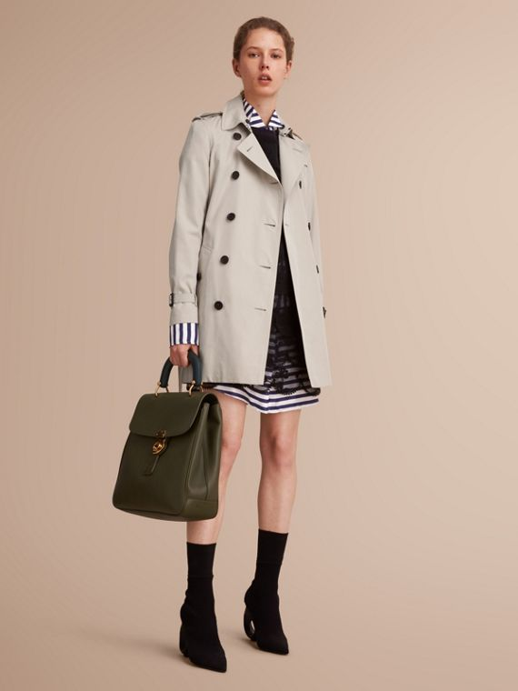 The Kensington – Mid-Length Heritage Trench Coat in Stone