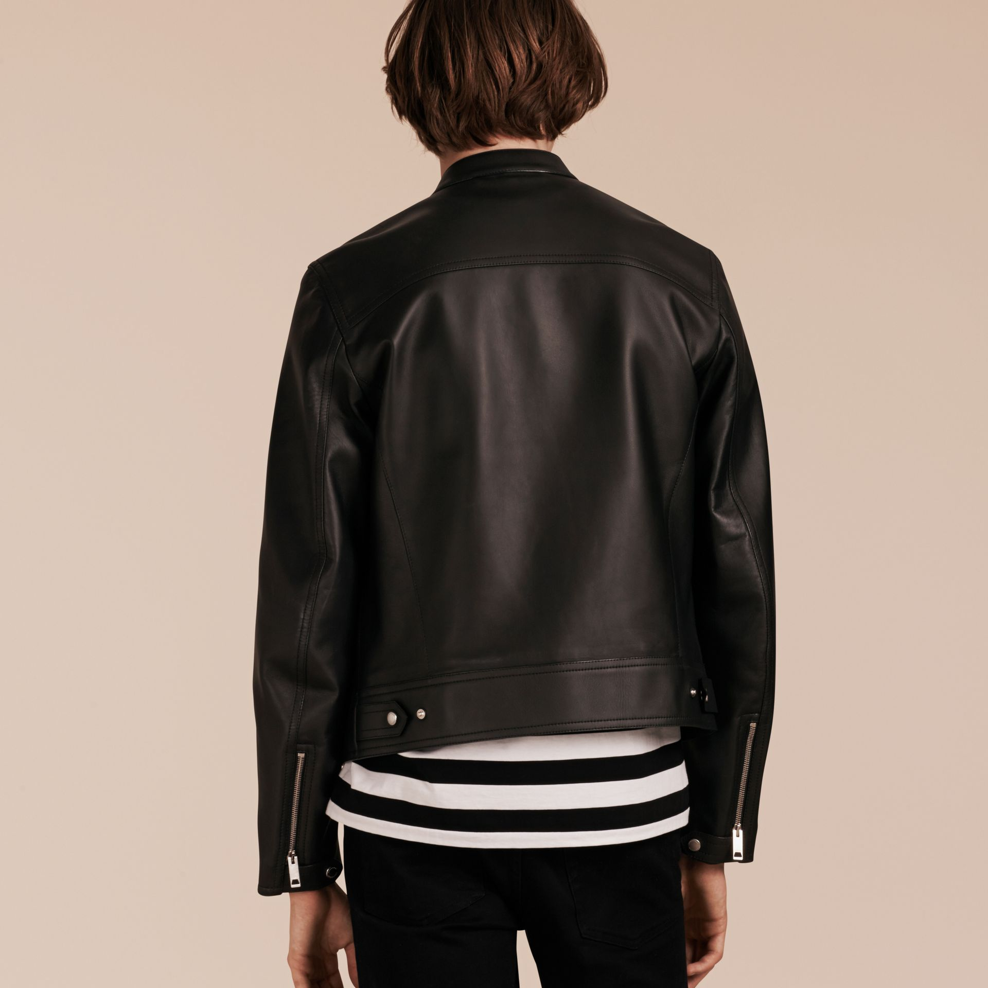Black Lightweight Lambskin Biker Jacket - gallery image 3