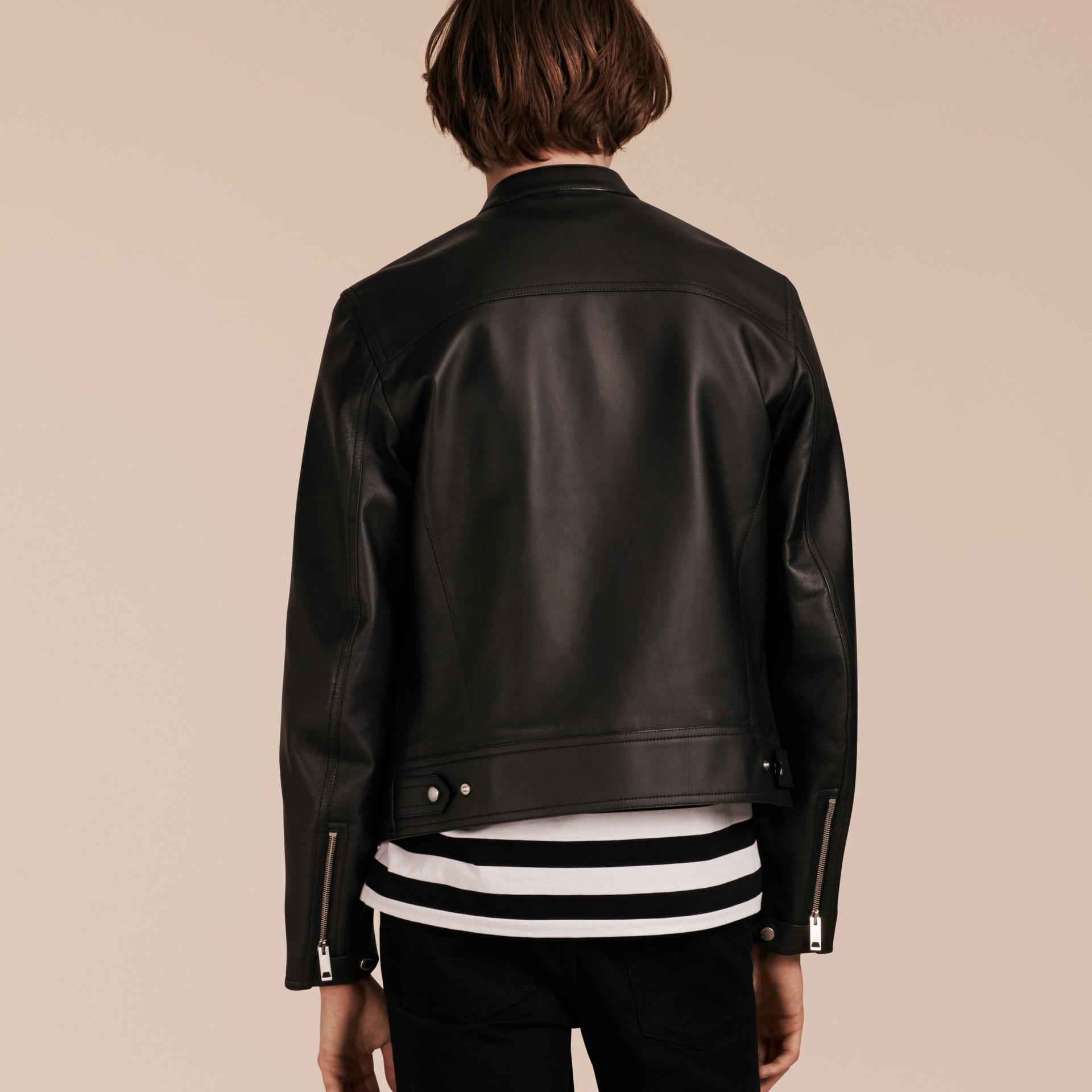 Черный Байкерская куртка из кожи ягненка - изображение 3