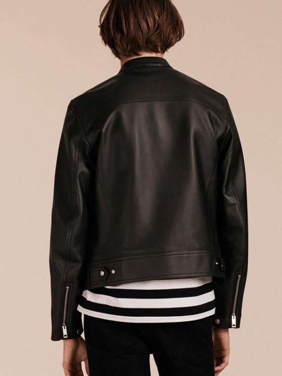 Черный Байкерская куртка из кожи ягненка - cell image 2
