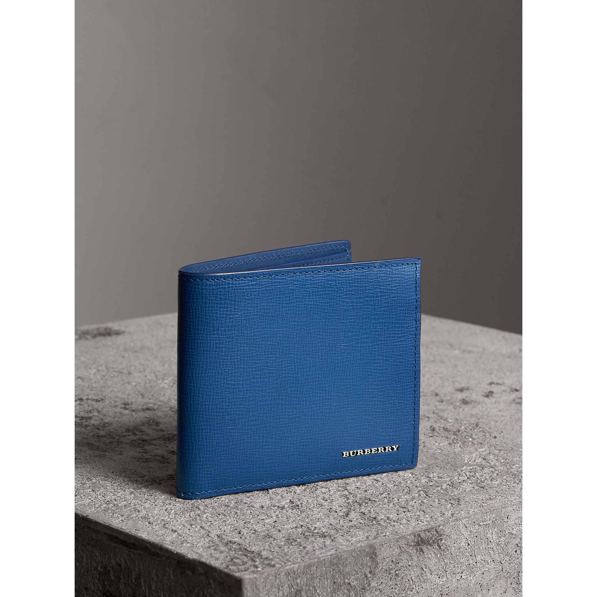 London Leather International Bifold Wallet in Deep Blue - Men | Burberry - gallery image 1