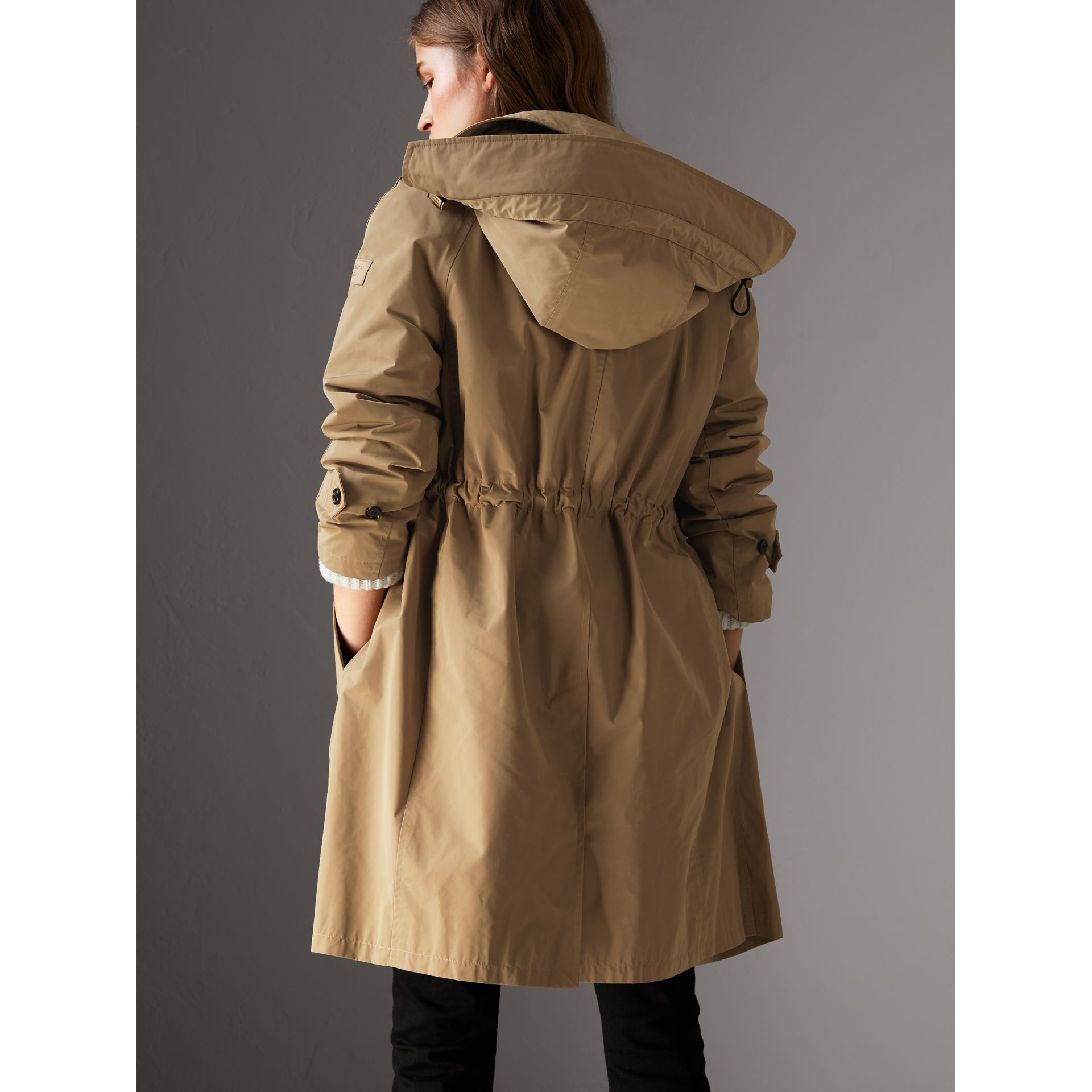 Detachable Hood Showerproof Car Coat in Sisal - Women | Burberry Singapore - gallery image 2
