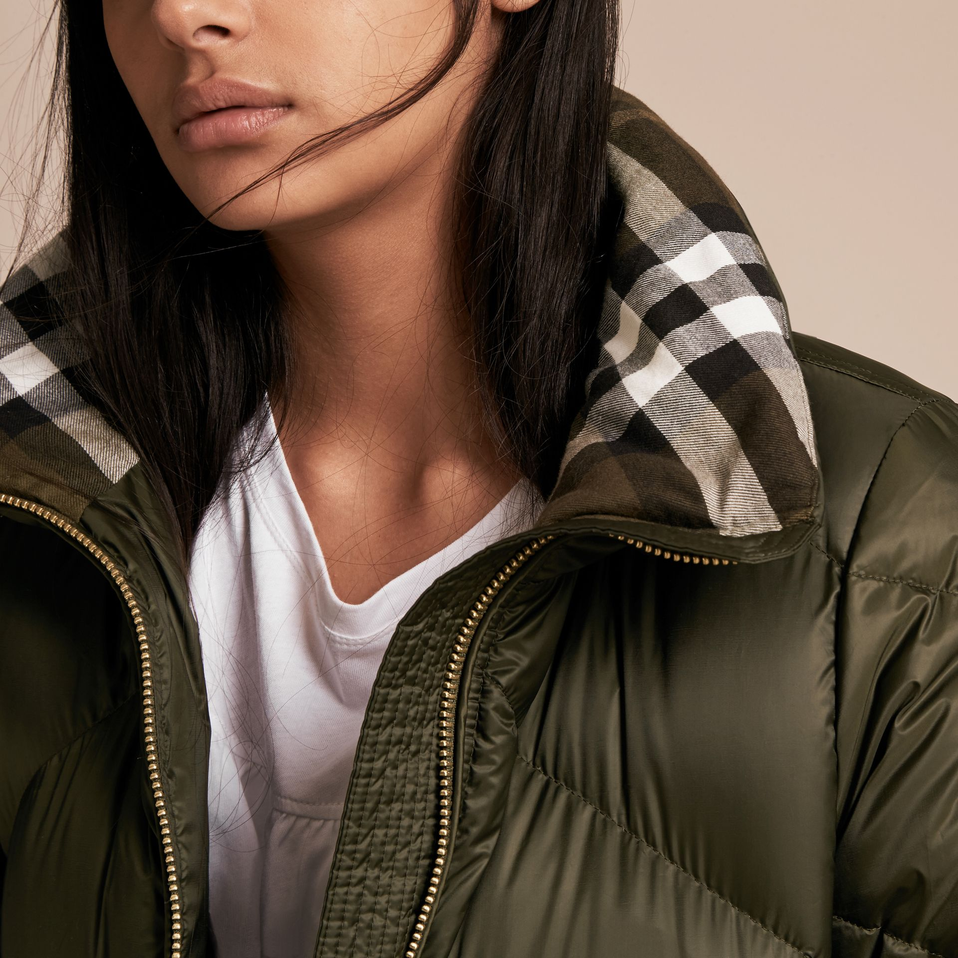 Chevron-quilted Down-filled Coat in Olive - Women | Burberry - gallery image 5