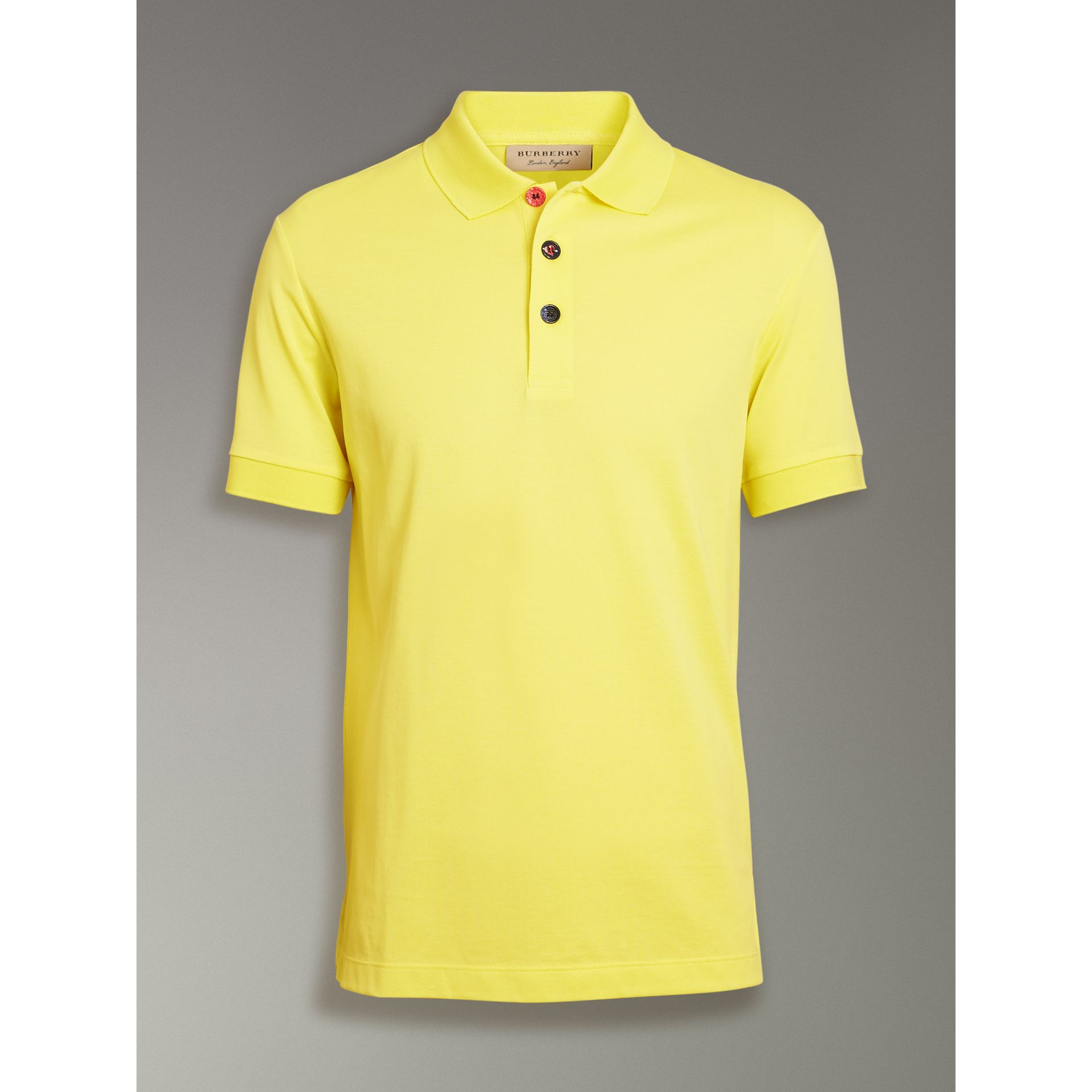 Painted Button Cotton Piqué Polo Shirt in Vibrant Lemon - Men | Burberry United Kingdom - gallery image 3
