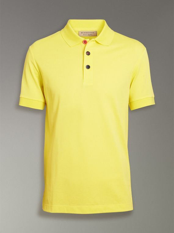 Painted Button Cotton Piqué Polo Shirt in Vibrant Lemon - Men | Burberry United Kingdom - cell image 3