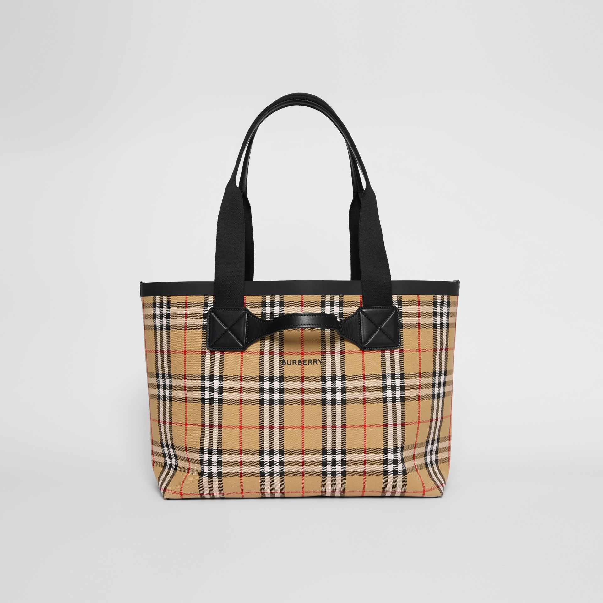 Medium Vintage Check Austen Tote in Archive Beige - Women | Burberry - gallery image 0