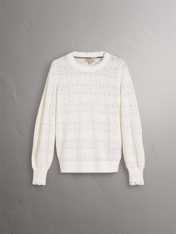 Lace Trim Pointelle Wool Cashmere Sweater in Natural White - Women | Burberry - cell image 3
