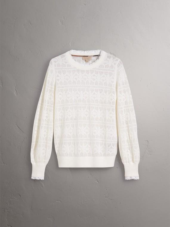 Suéter de lã e cashmere com detalhes em renda e pointelle (Branco Natural) - Mulheres | Burberry - cell image 3