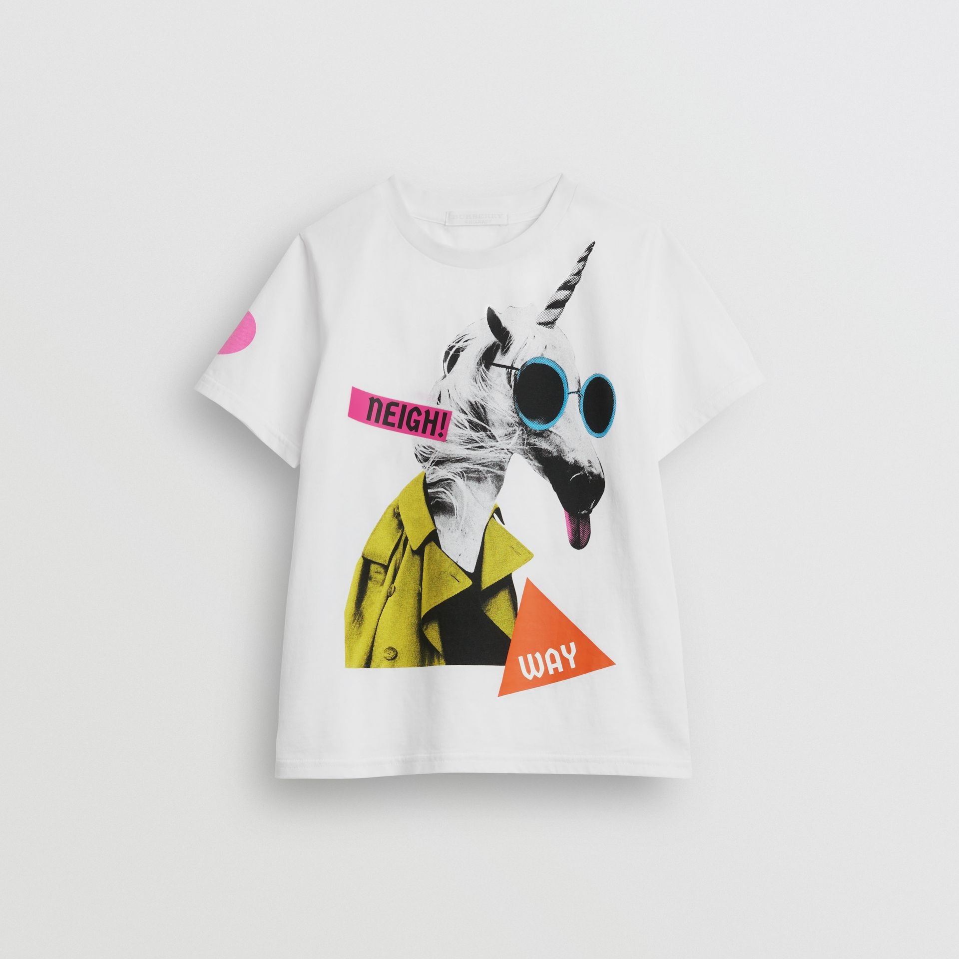 Unicorn Print Cotton T-shirt in White | Burberry - gallery image 0