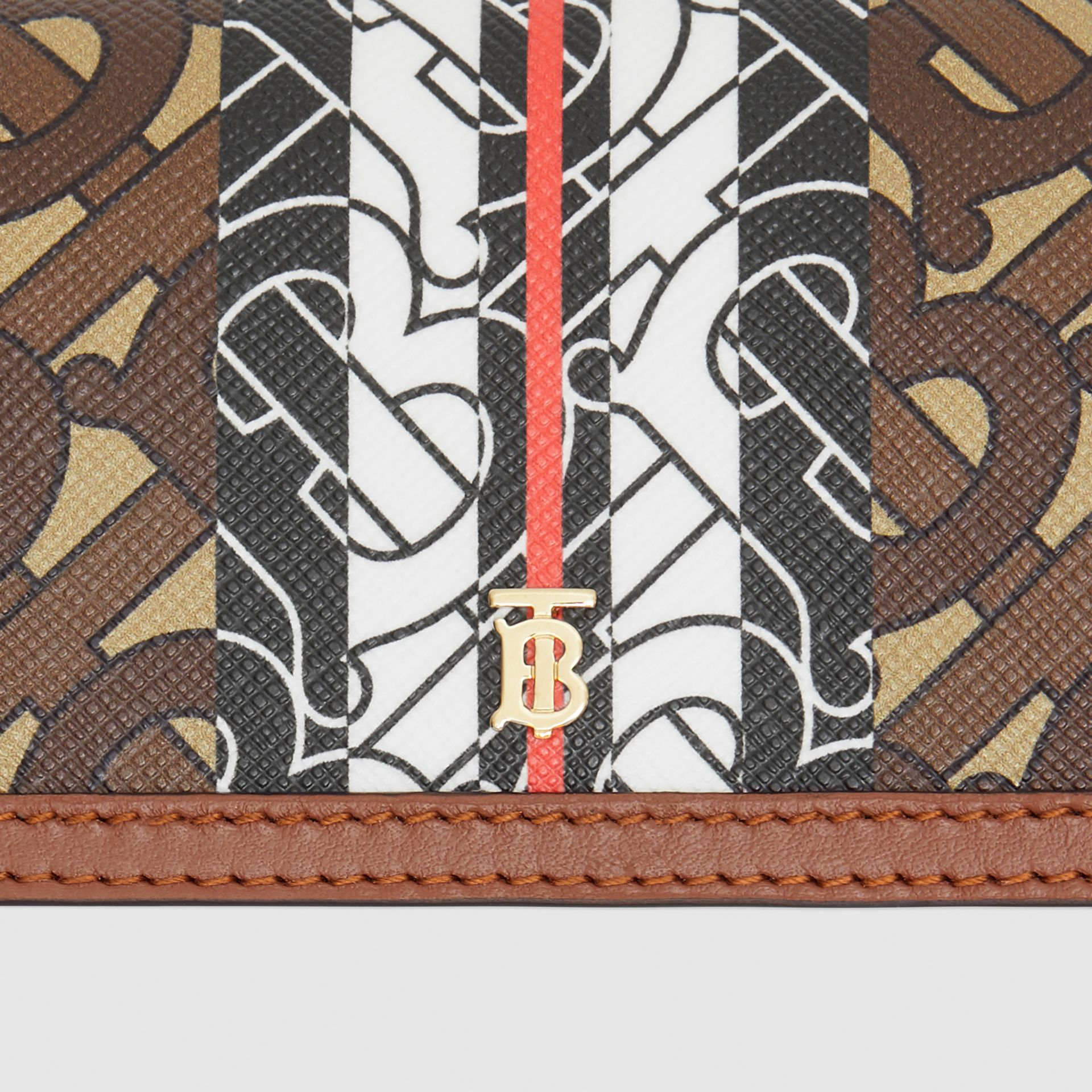 Monogram Stripe E-canvas Card Case with Strap in Bridle Brown | Burberry - gallery image 1