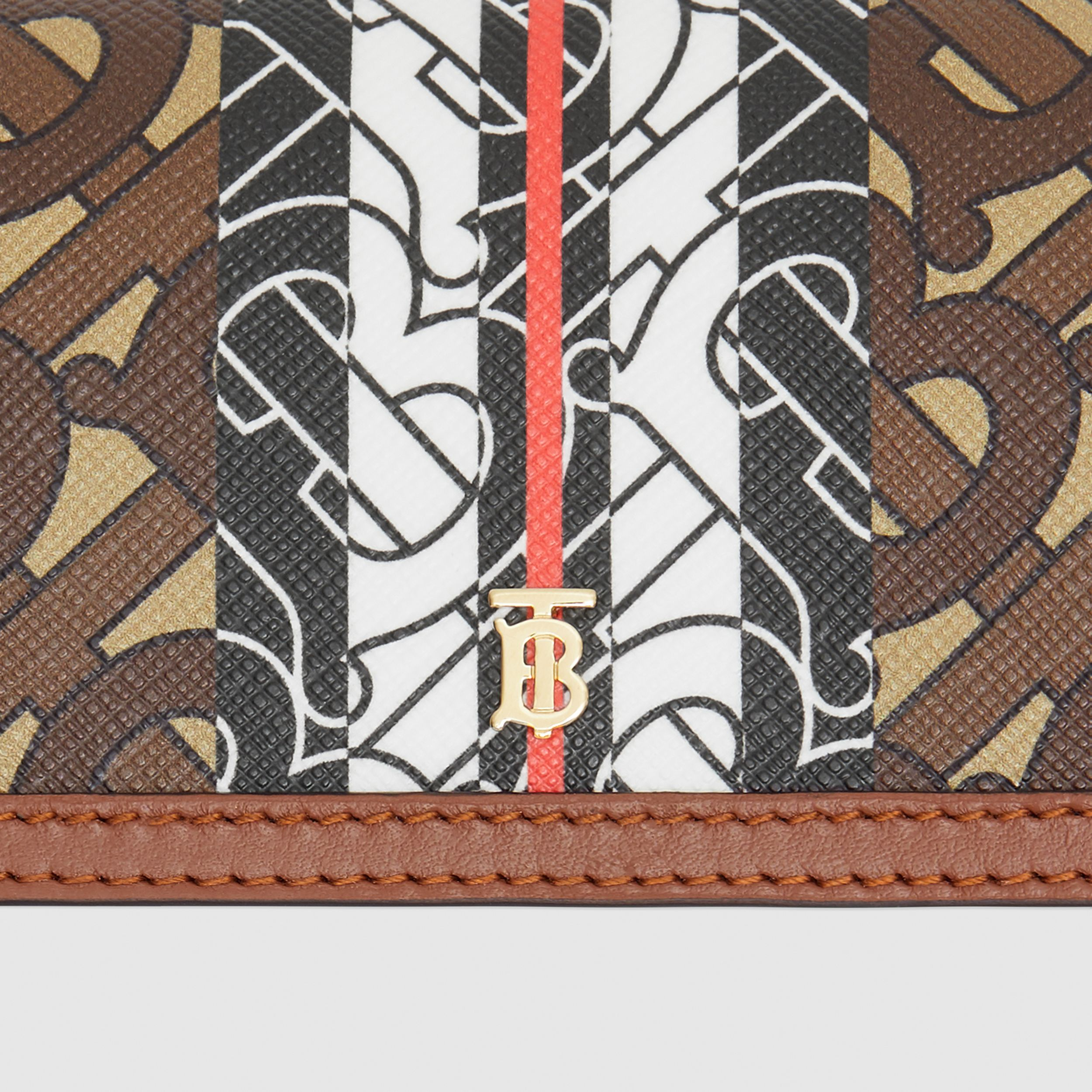 Monogram Stripe E-canvas Card Case with Strap in Bridle Brown - Women | Burberry - 2