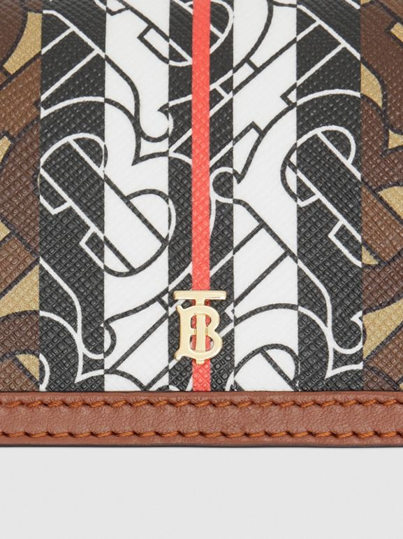Monogram Stripe E-canvas Card Case with Strap in Bridle Brown | Burberry - cell image 1