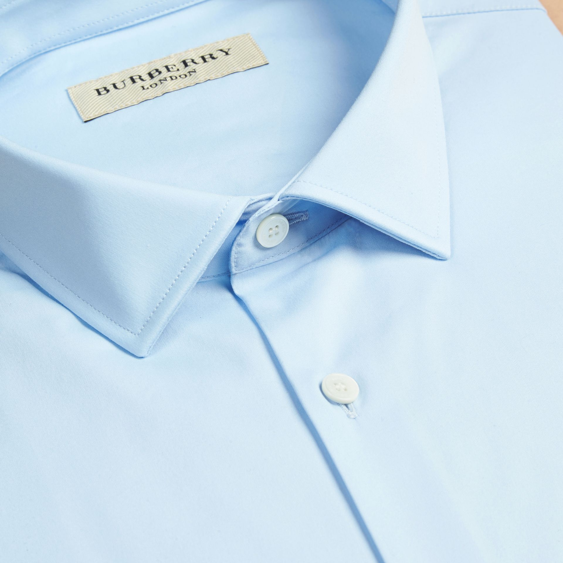 City blue Modern Fit Stretch Cotton Shirt City Blue - gallery image 2