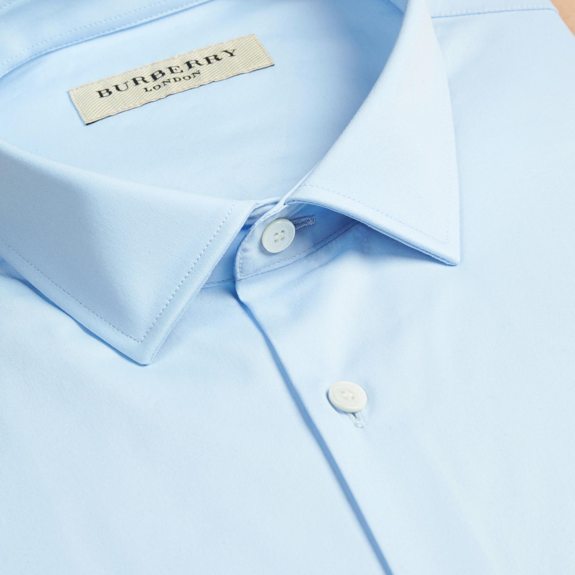 Bleu dragée Chemise moderne en coton extensible Bleu Dragée - photo de la galerie 2