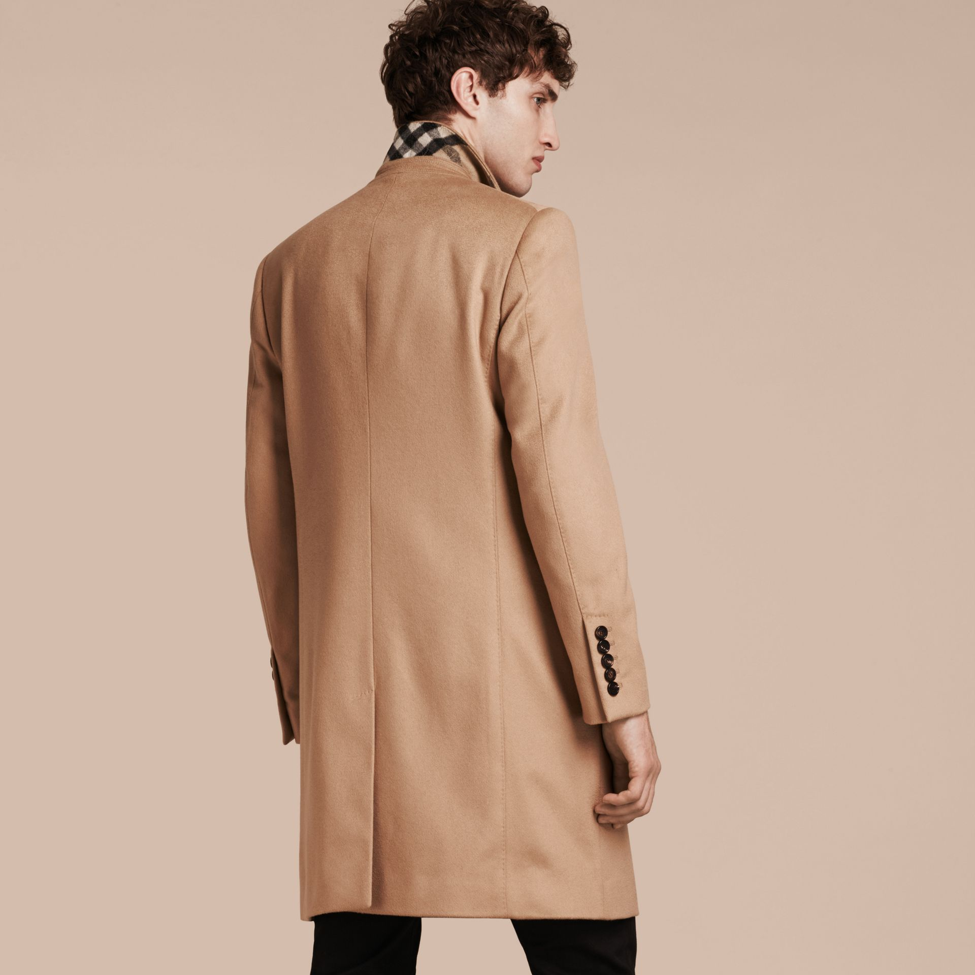 Camel Double-breasted Tailored Cashmere Coat - gallery image 3