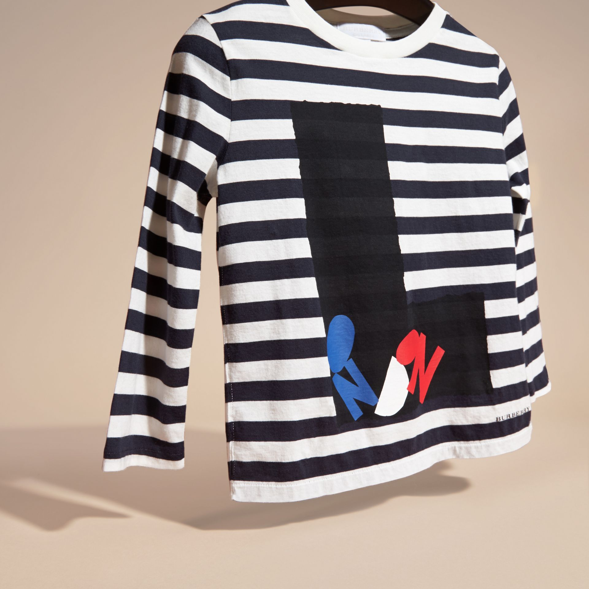 Navy/white Long-sleeved London Motif Cotton T-Shirt - gallery image 3