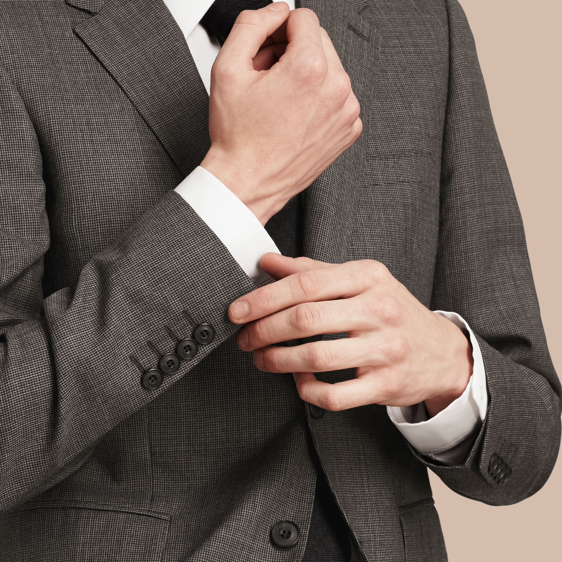 Mid grey melange Modern Fit Wool Cashmere Microcheck Part-canvas Suit - gallery image 6