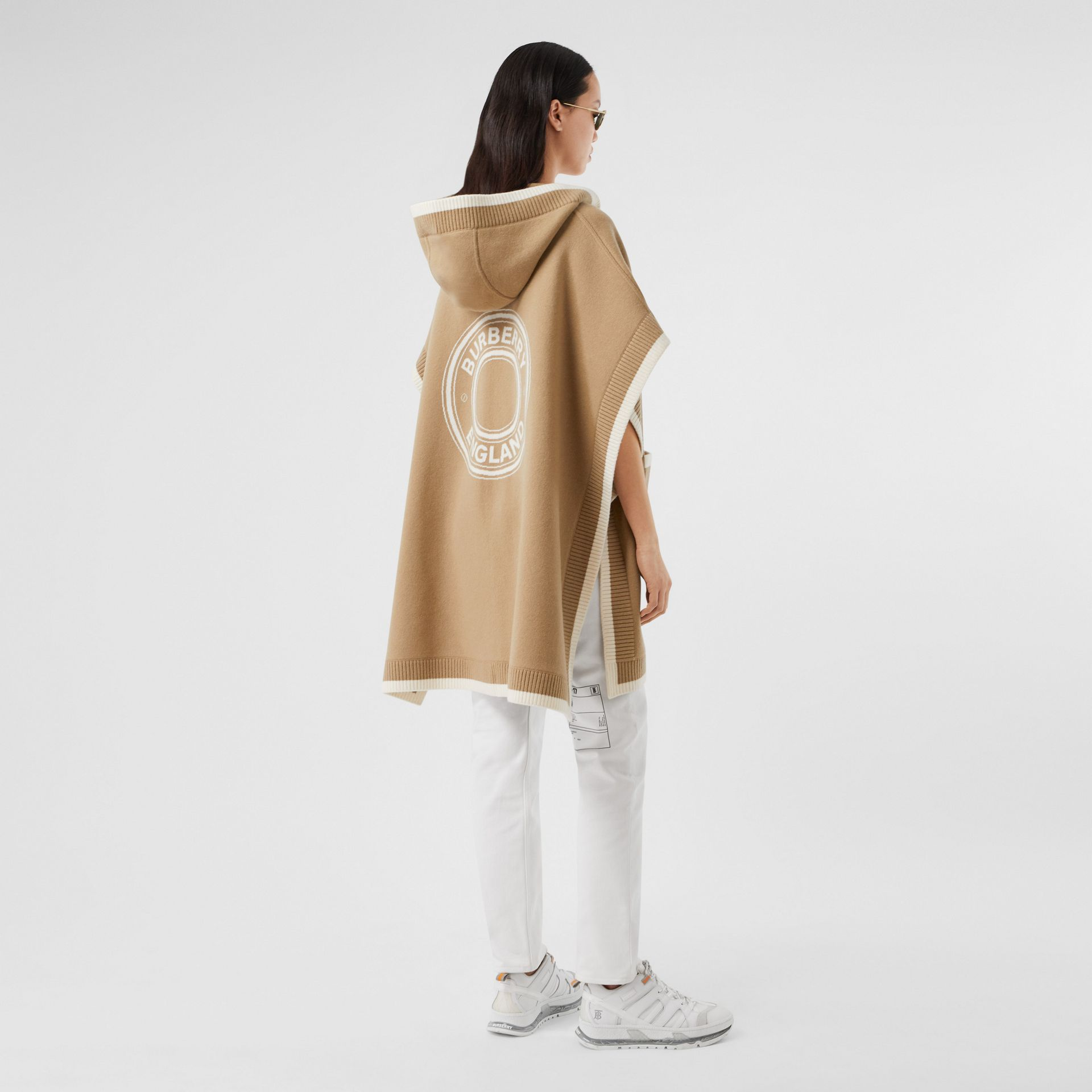 Logo Graphic Wool Cashmere Jacquard Hooded Cape in Archive Beige - Women | Burberry United Kingdom - gallery image 0