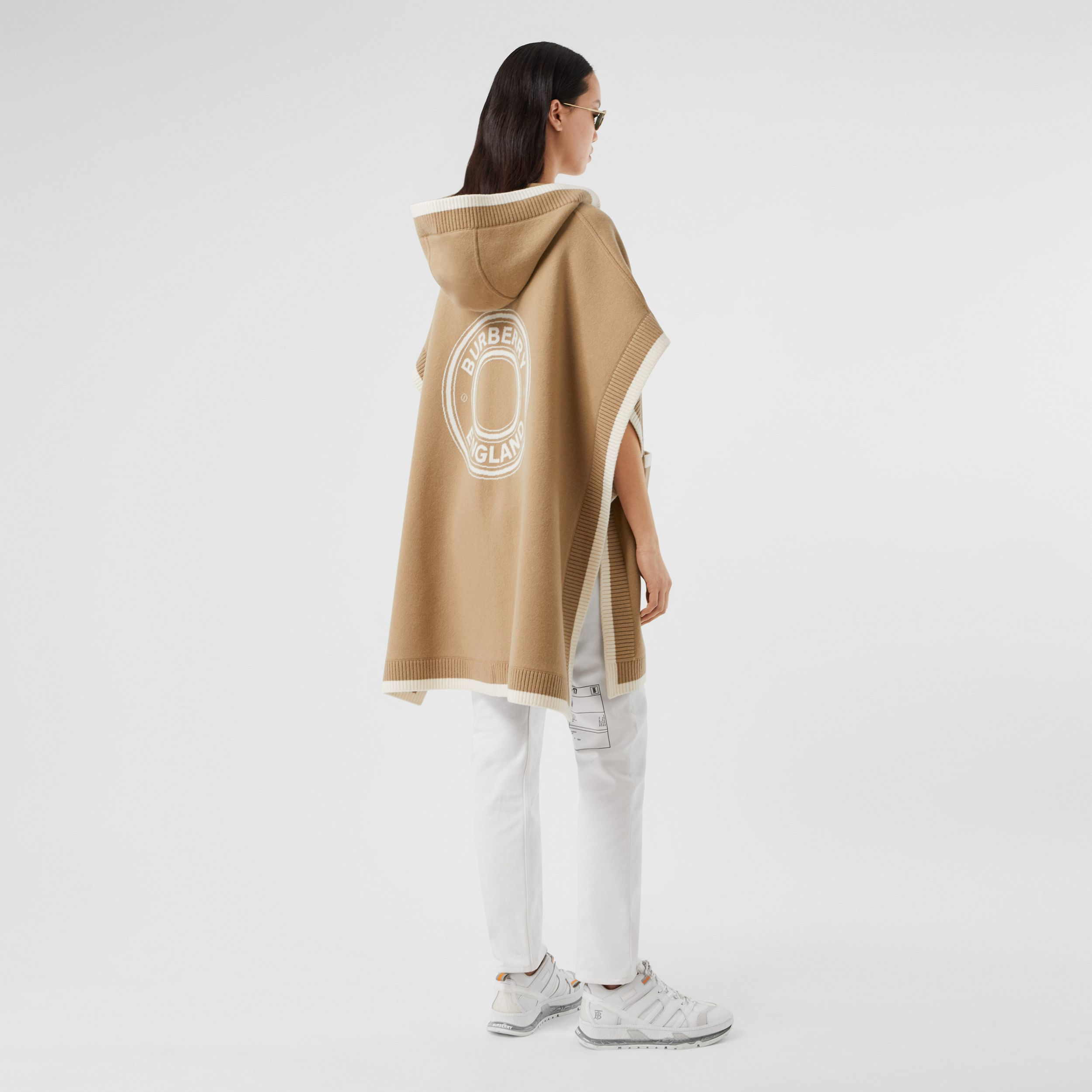 Logo Graphic Wool Cashmere Jacquard Hooded Cape in Archive Beige - Women | Burberry United Kingdom - 1