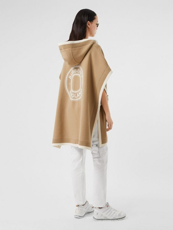 Logo Graphic Wool Cashmere Jacquard Hooded Cape in Archive Beige