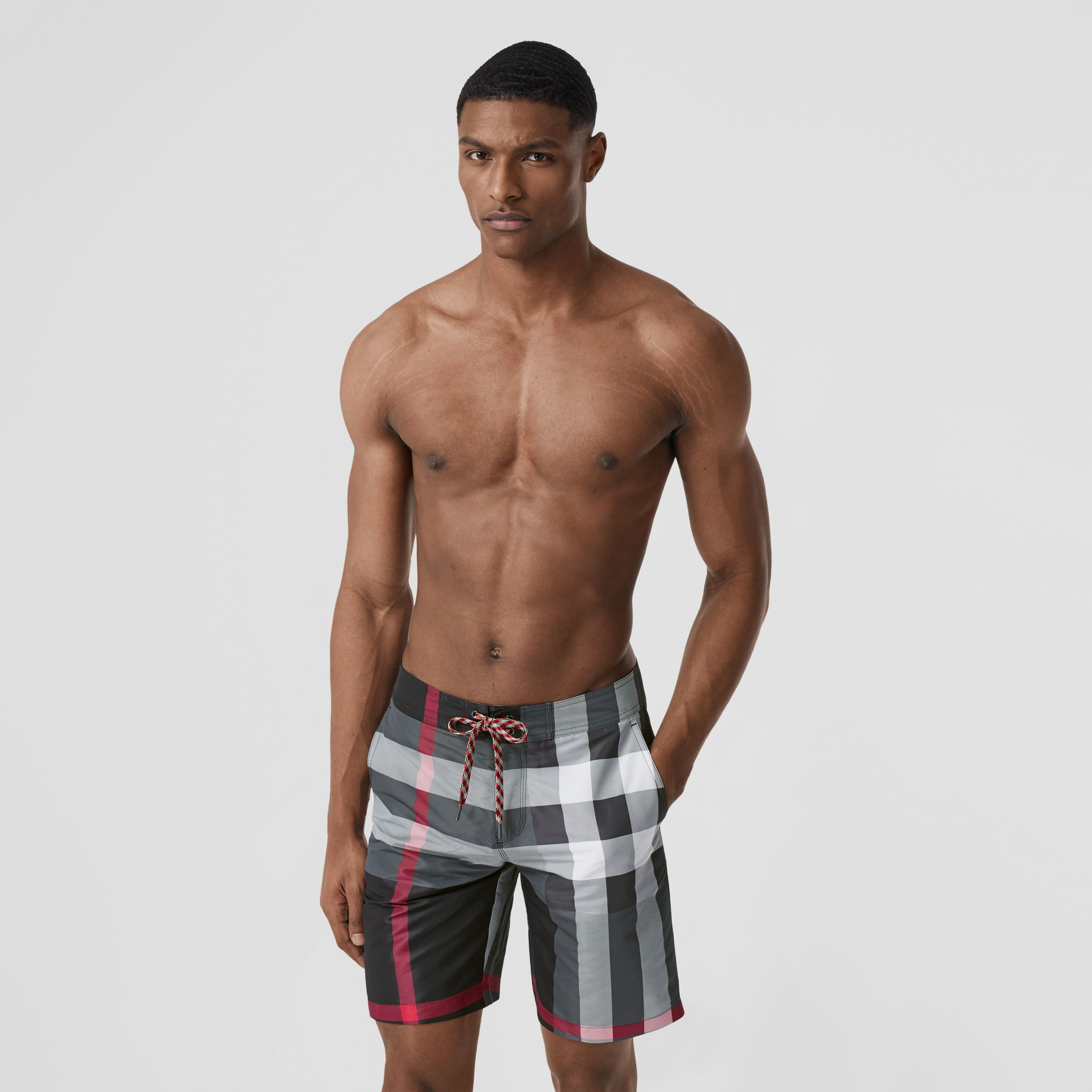 Check Swim Shorts in Charcoal - Men | Burberry - 1