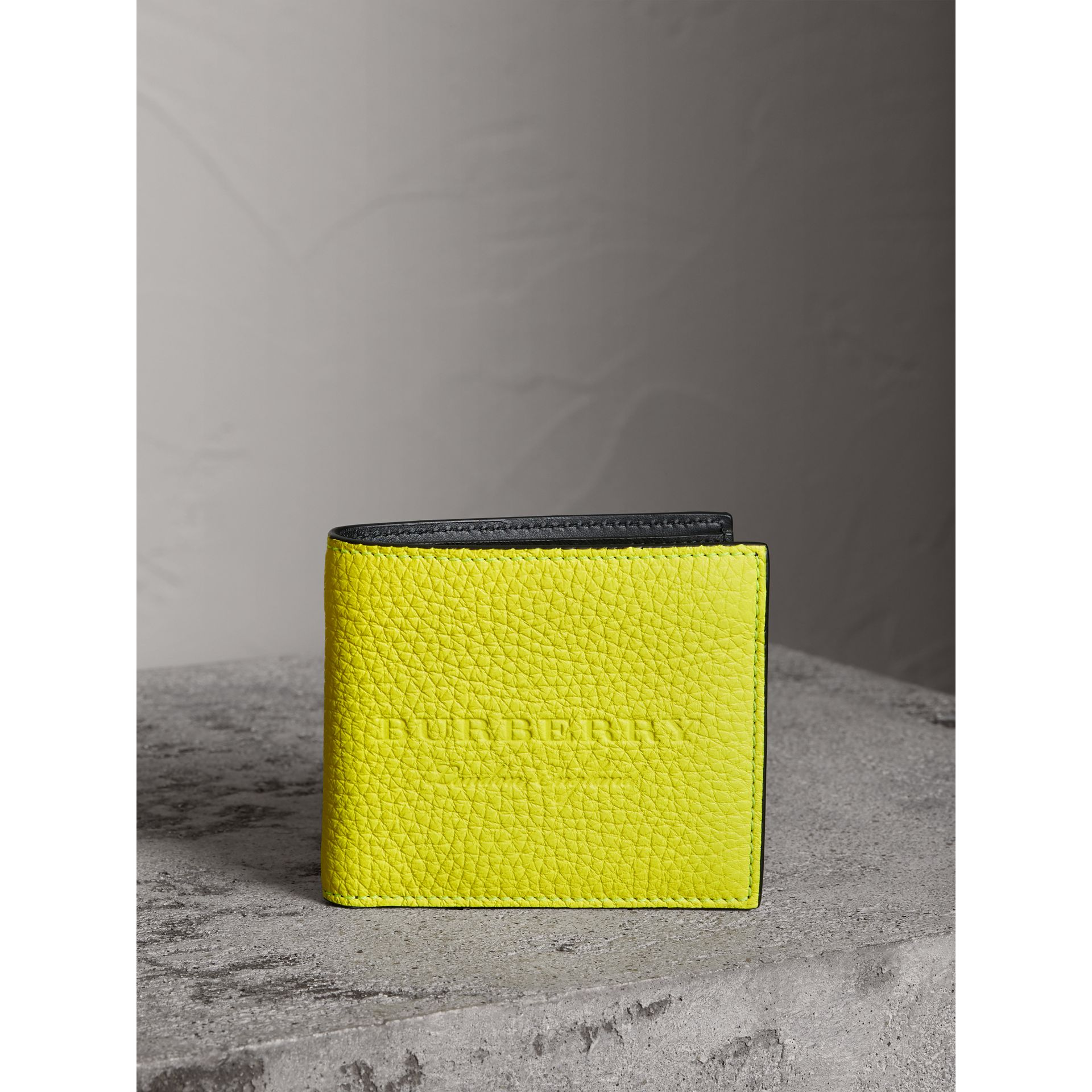 Embossed Leather International Bifold Wallet in Neon Yellow - Men | Burberry - gallery image 4