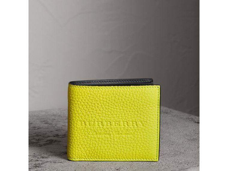 Embossed Leather International Bifold Wallet in Neon Yellow - Men | Burberry - cell image 4