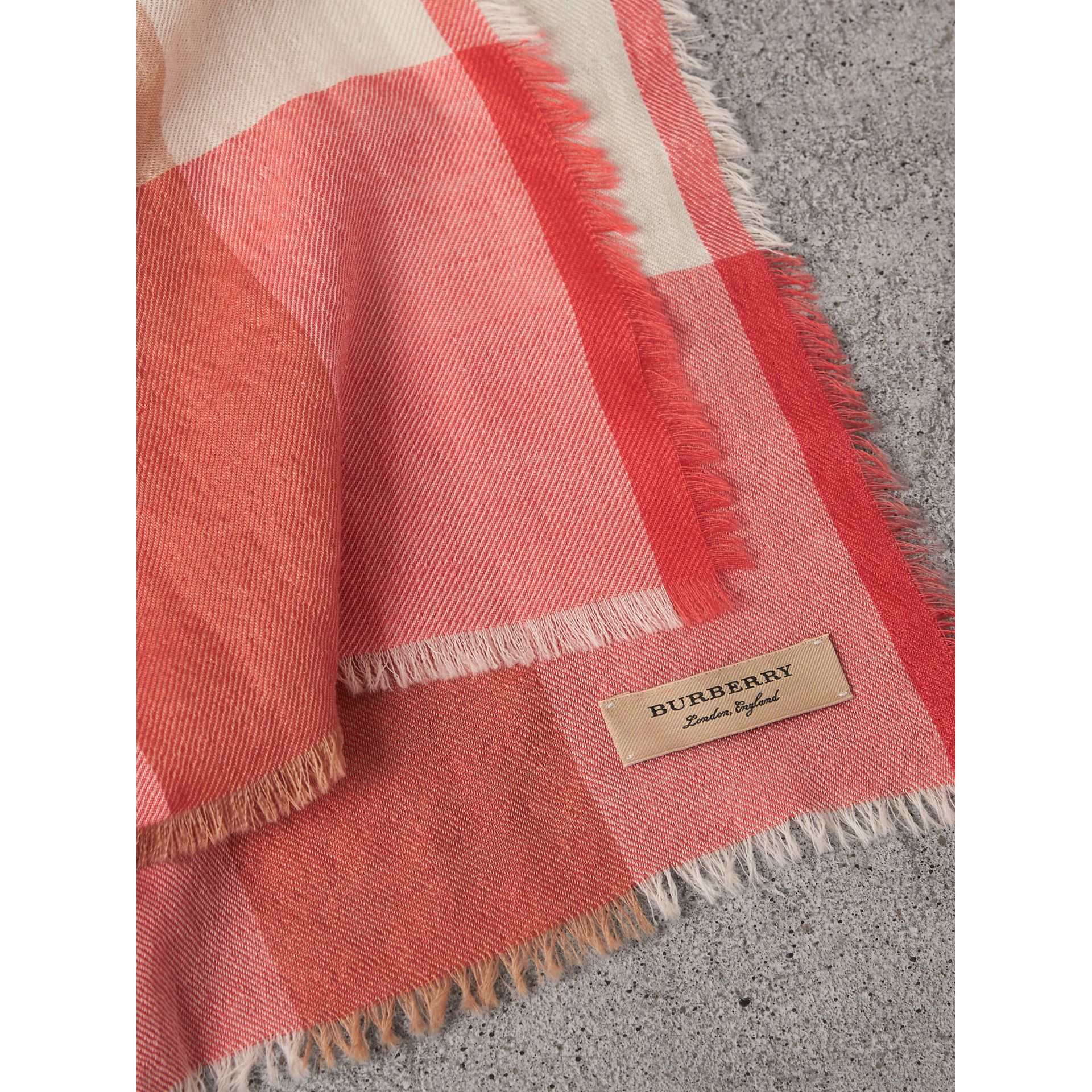The Lightweight Check Cashmere Scarf in Bright Coral | Burberry - gallery image 1