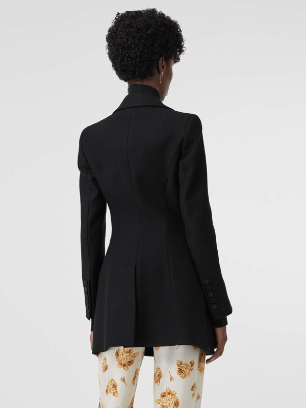 Herringbone Wool Cashmere Blend Tailored Jacket in Black - Women | Burberry - cell image 2