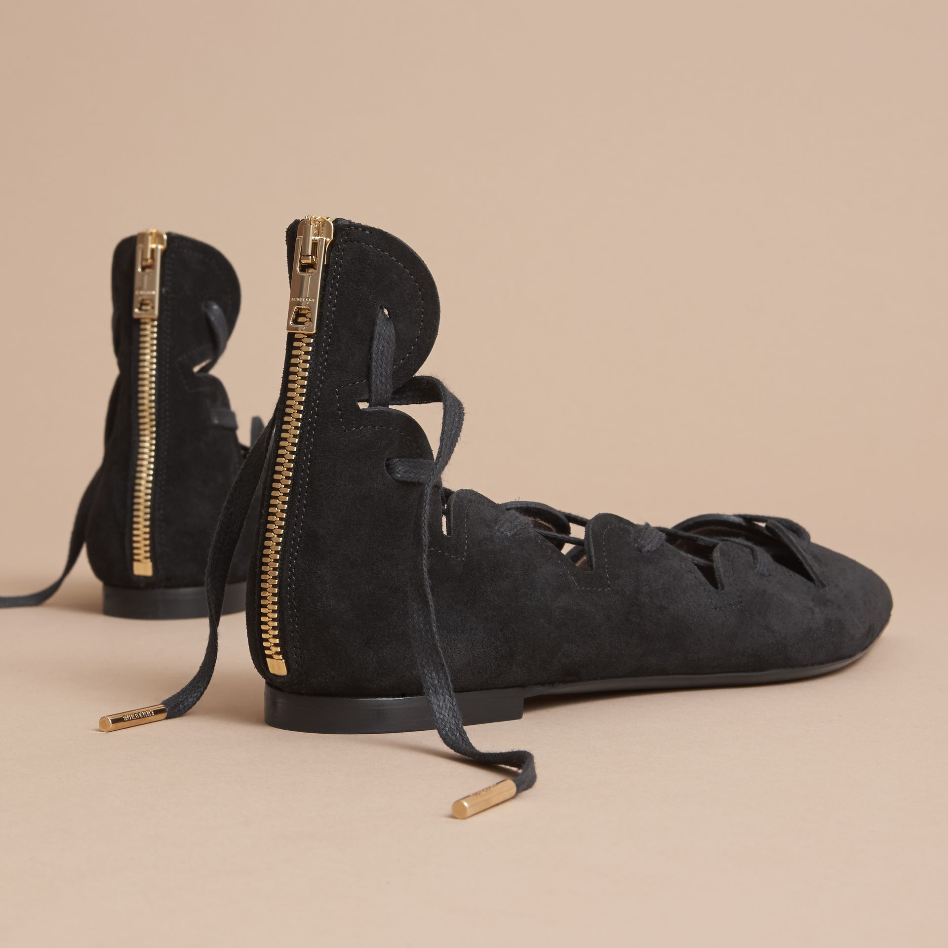 Scalloped Suede Lace-up Ballerinas in Black - Women | Burberry - gallery image 3