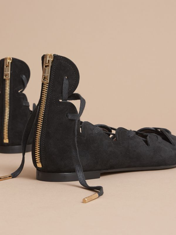 Scalloped Suede Lace-up Ballerinas in Black | Burberry United States - cell image 3