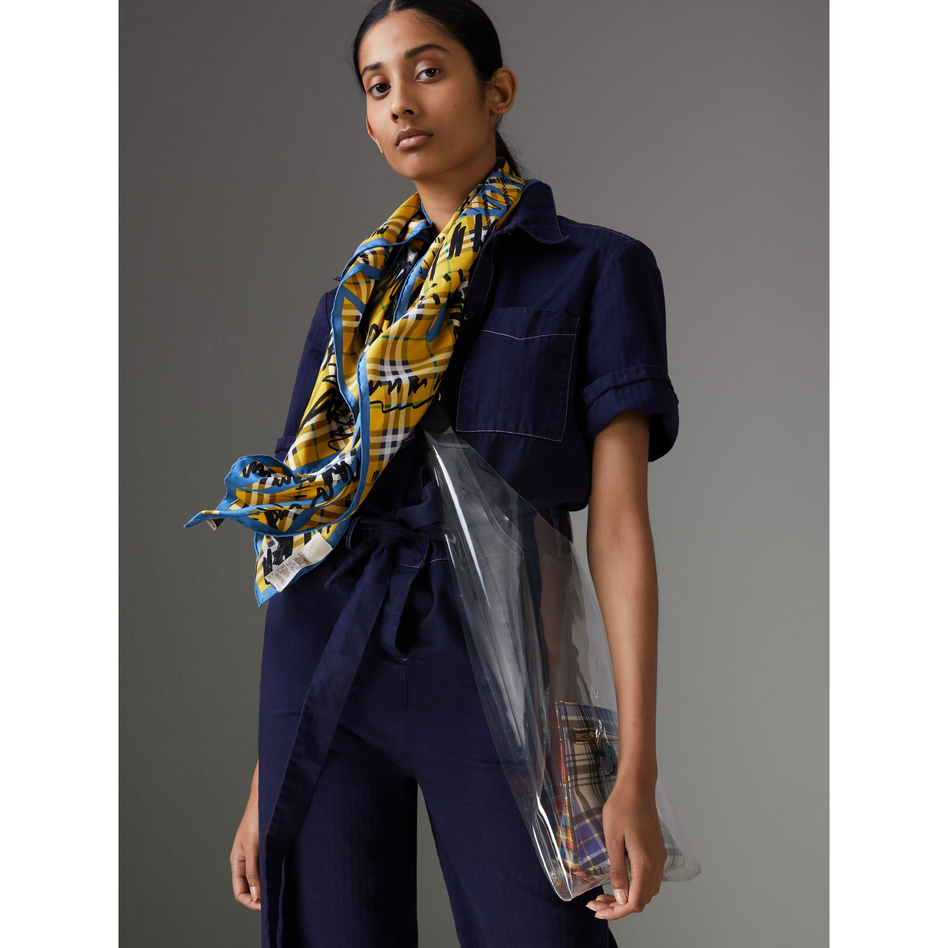 Scribble Check Silk Square Scarf in Bright Yellow - Women | Burberry - gallery image 3