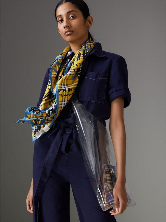 Scribble Check Silk Square Scarf in Bright Yellow - Women | Burberry - cell image 3