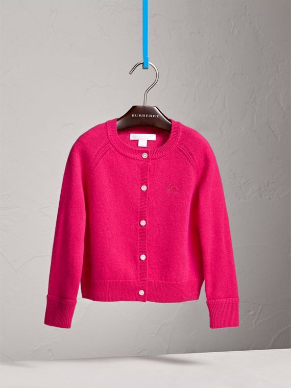 Check Cuff Cashmere Cardigan in Bright Crimson Pink - Girl | Burberry - cell image 2