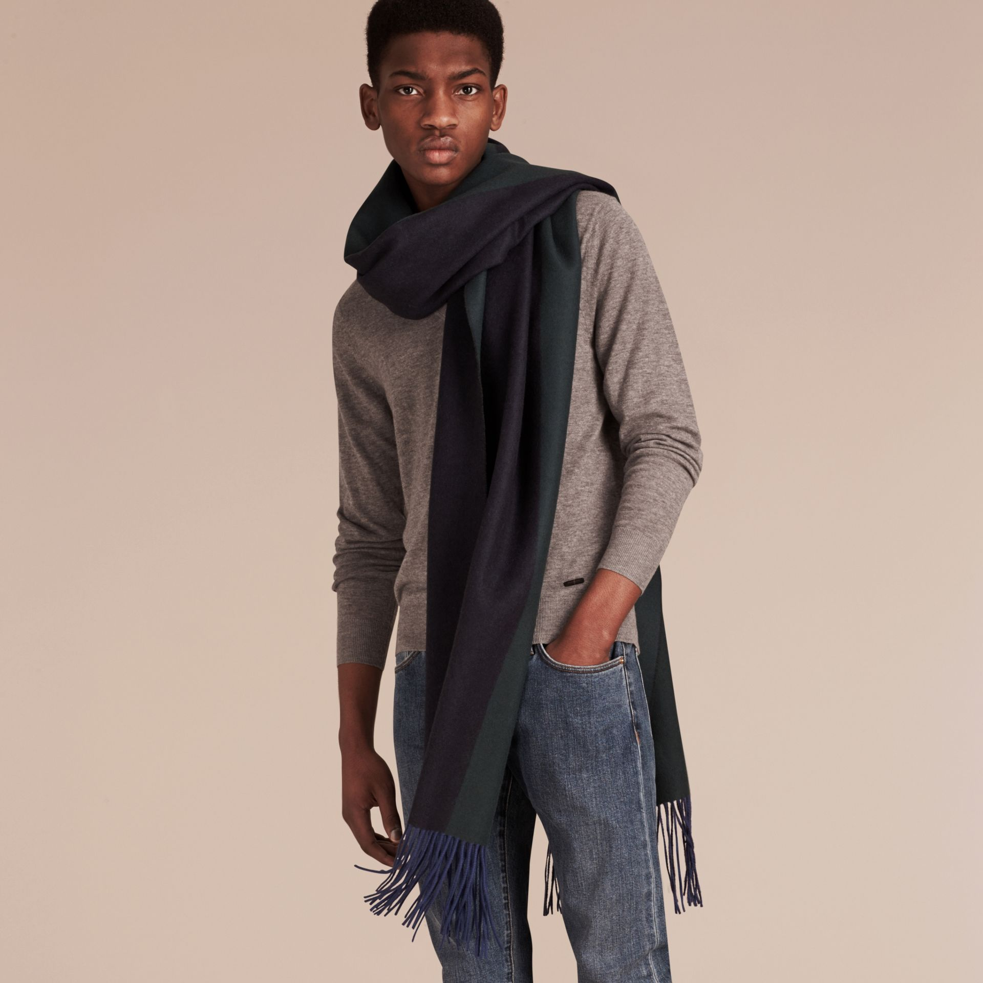 Oversize Striped Cashmere Scarf in Dark Forest Green - gallery image 3