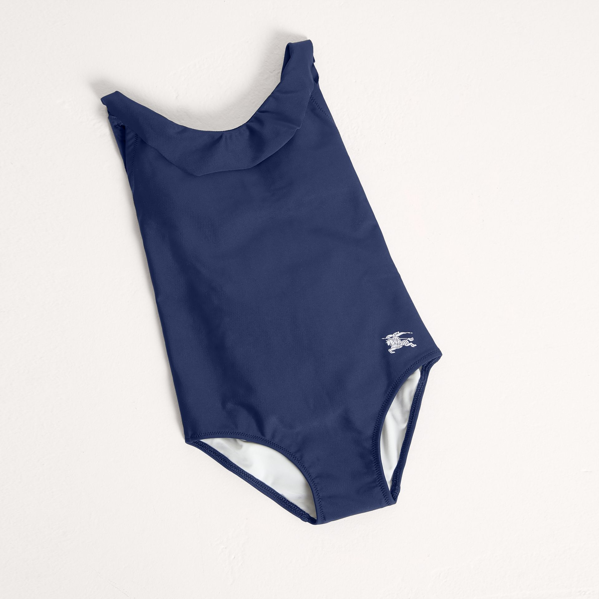 Frill Neck Swimsuit in Navy | Burberry - gallery image 0