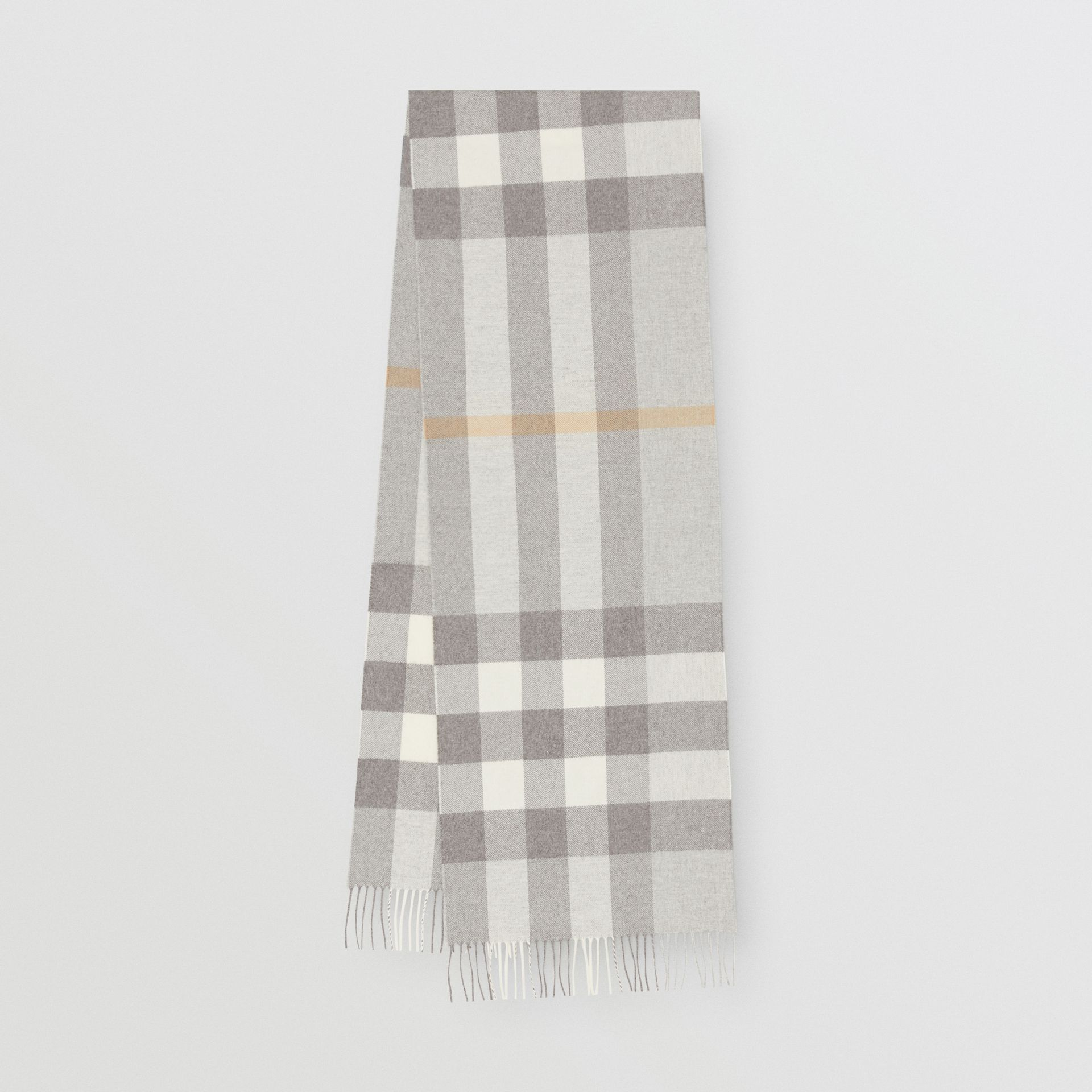 Check Cashmere Scarf in Light Grey | Burberry Australia - gallery image 0