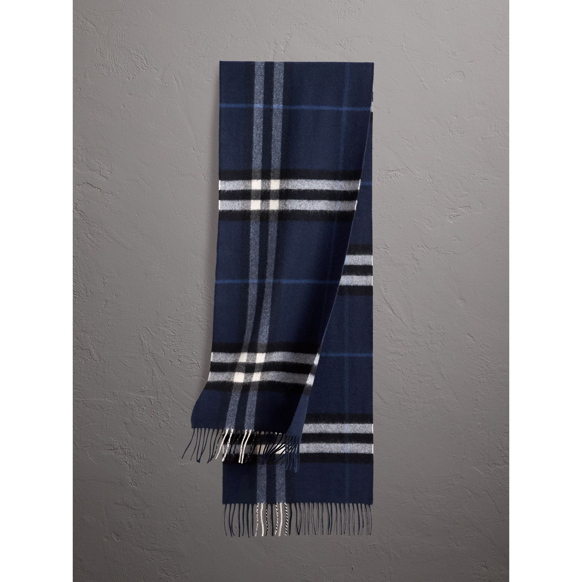 The Classic Check Cashmere Scarf in Indigo Blue | Burberry - gallery image 0