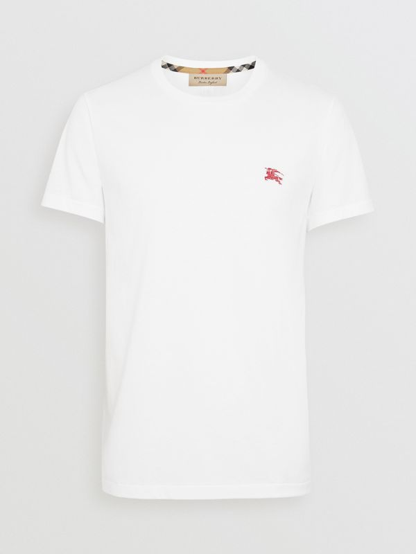 Cotton Jersey T-shirt in White - Men | Burberry Singapore - cell image 3