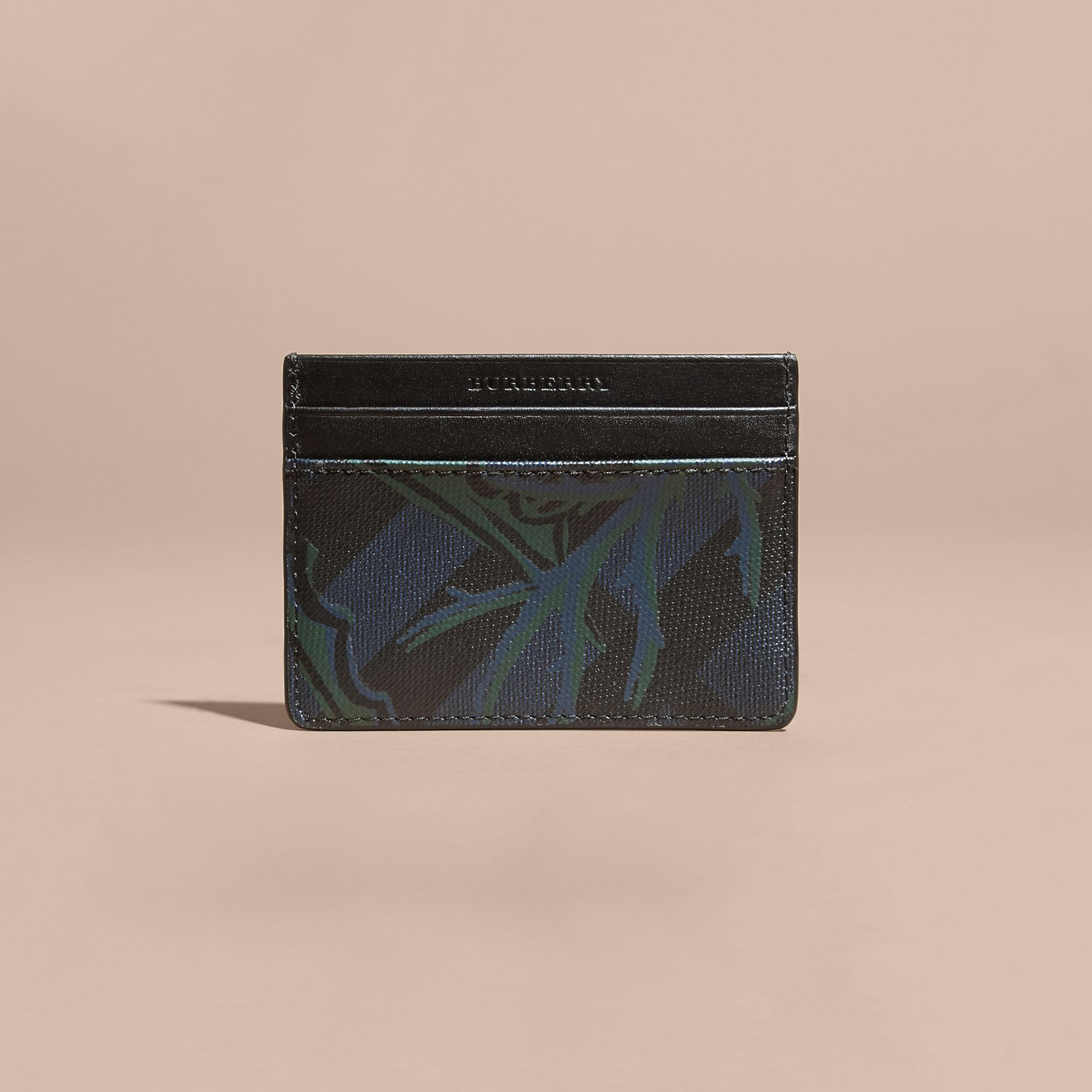 Floral Print London Check Card Case Navy - gallery image 6