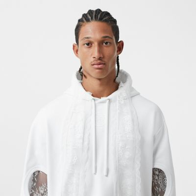 Sweat shirt à capuche en coton avec motif globe et manches à découpes (Blanc Optique) Femme | Burberry